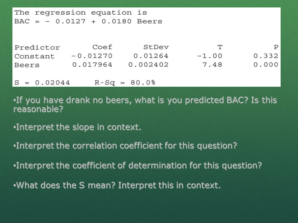 If you have drank no beers, what is you predicted BAC? Is this reasonable? If you have drank no beers, what is you predicted BAC? Is this reasonable?