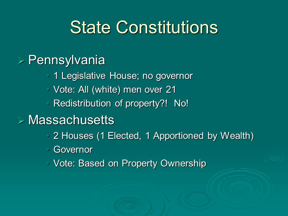 State Constitutions Pennsylvania Pennsylvania 1 Legislative House; no governor1 Legislative House; no governor Vote: All (white) men over 21Vote: All (white) men over 21 Redistribution of property .