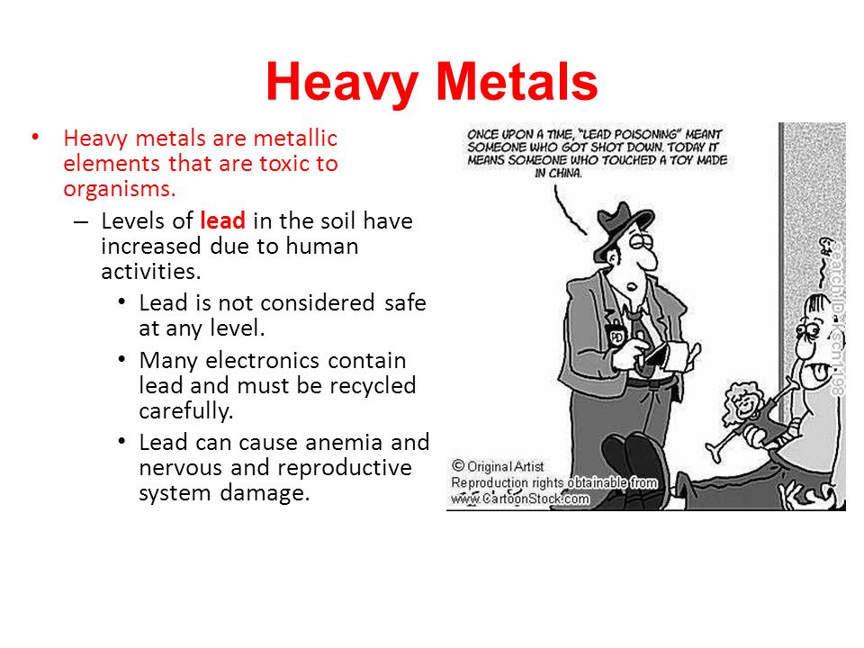 Heavy metals are metallic elements that are toxic to organisms.