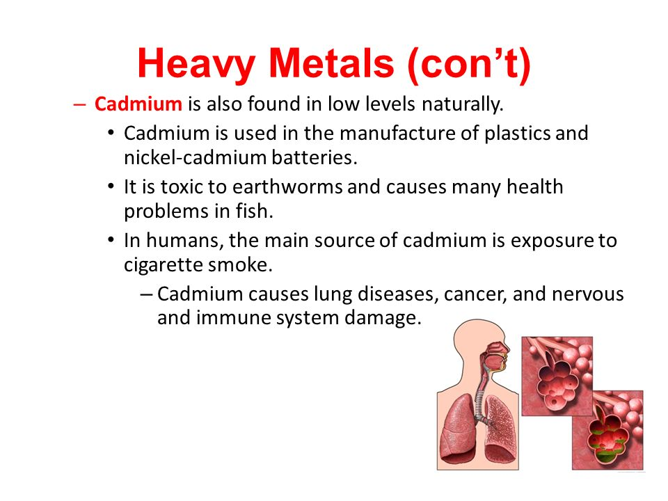 – Cadmium is also found in low levels naturally.