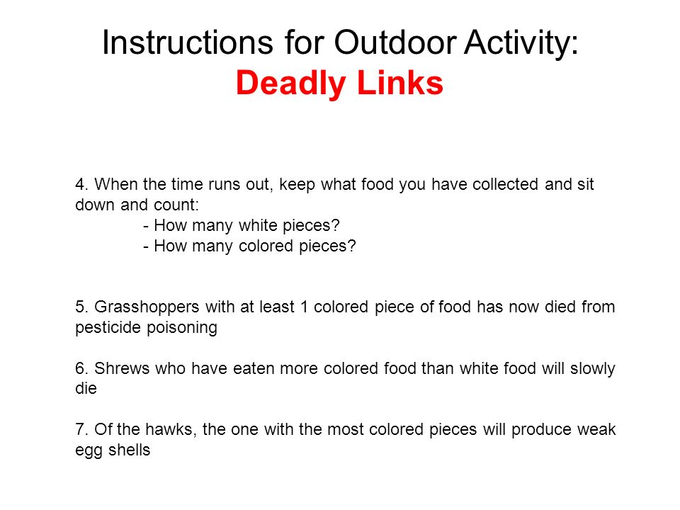 Instructions for Outdoor Activity: Deadly Links 4.