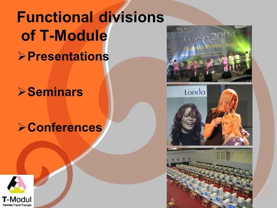 Functional divisions of T-Module Presentations Seminars Conferences