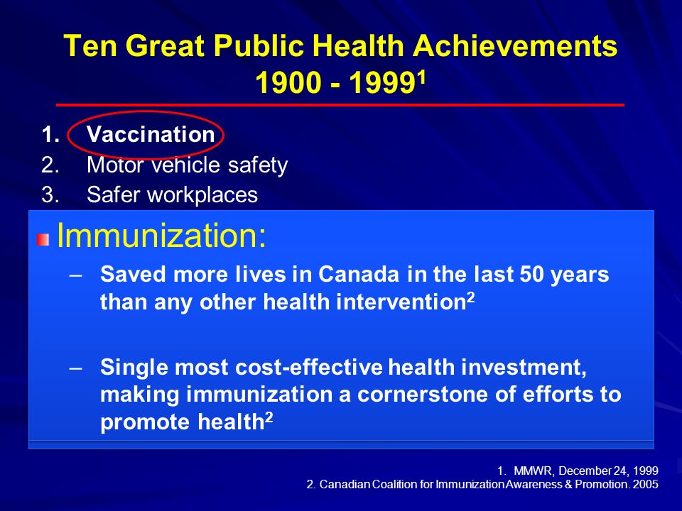 Ten Great Public Health Achievements 1900 - 1999 1 1. 1.Vaccination 2. 2.Motor vehicle safety 3. 3.Safer workplaces 4. 4.Control of infectious disease
