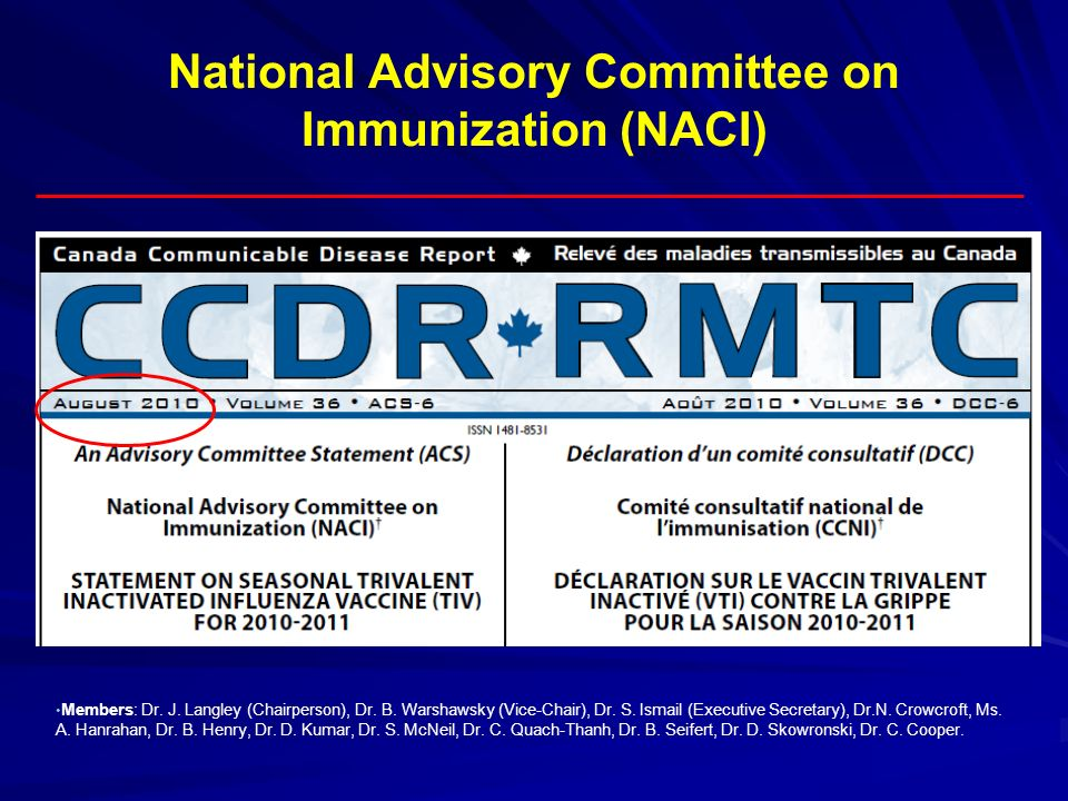 National Advisory Committee on Immunization (NACI) Members: Dr. J. Langley (Chairperson), Dr. B. Warshawsky (Vice-Chair), Dr. S. Ismail (Executive Sec