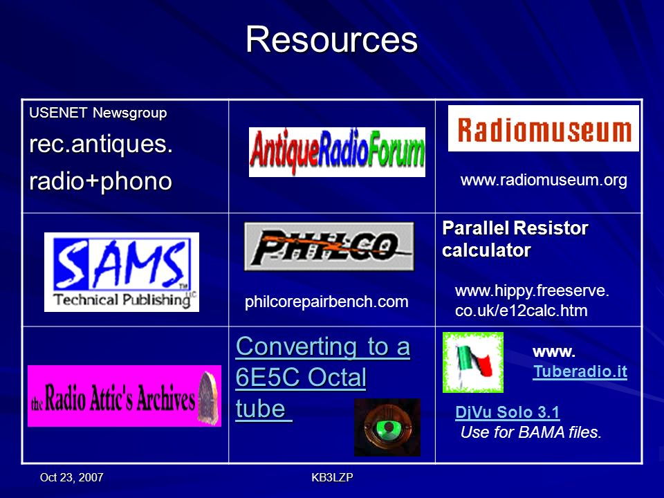 Oct 23, 2007 KB3LZP Resources USENET Newsgroup rec.antiques.radio+phono Parallel Resistor calculator Converting to a 6E5C Octal tube Converting to a 6