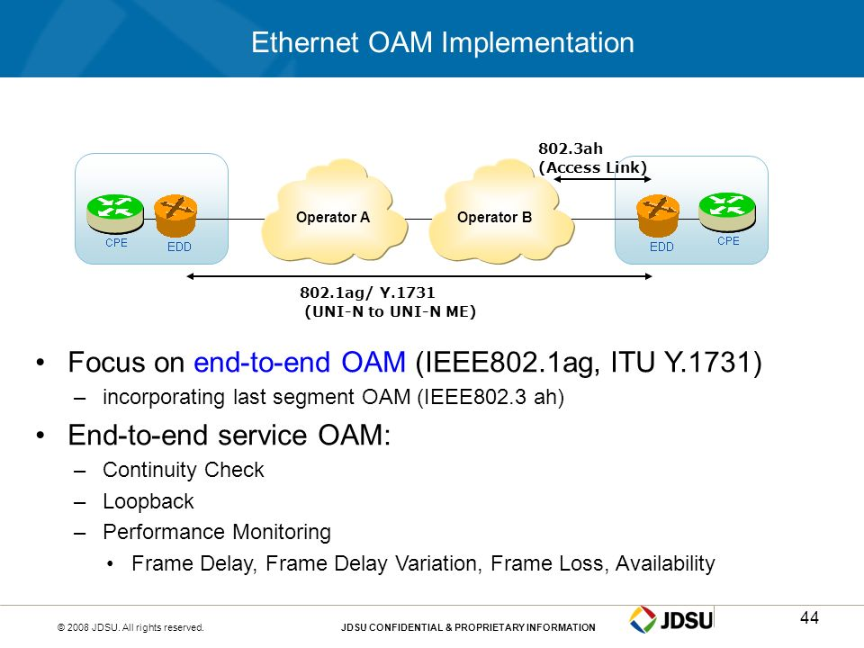 © 2008 JDSU. All rights reserved.JDSU CONFIDENTIAL & PROPRIETARY INFORMATION44 Ethernet OAM Implementation Focus on end-to-end OAM (IEEE802.1ag, ITU Y