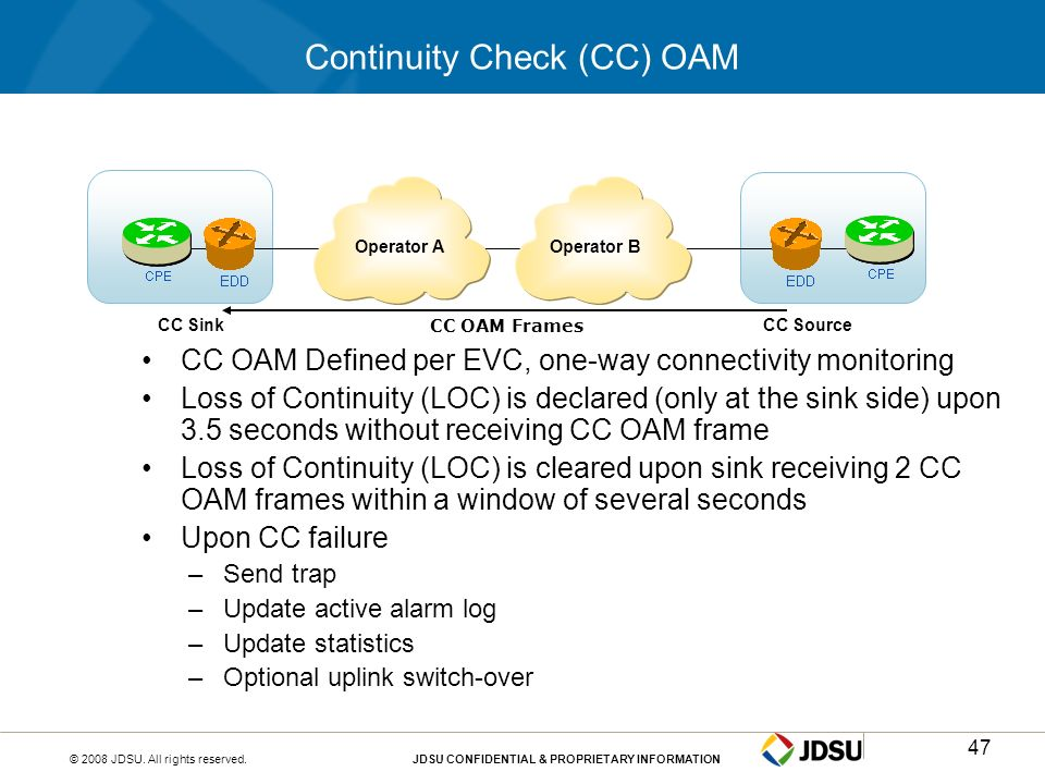 © 2008 JDSU. All rights reserved.JDSU CONFIDENTIAL & PROPRIETARY INFORMATION47 Continuity Check (CC) OAM CC OAM Defined per EVC, one-way connectivity
