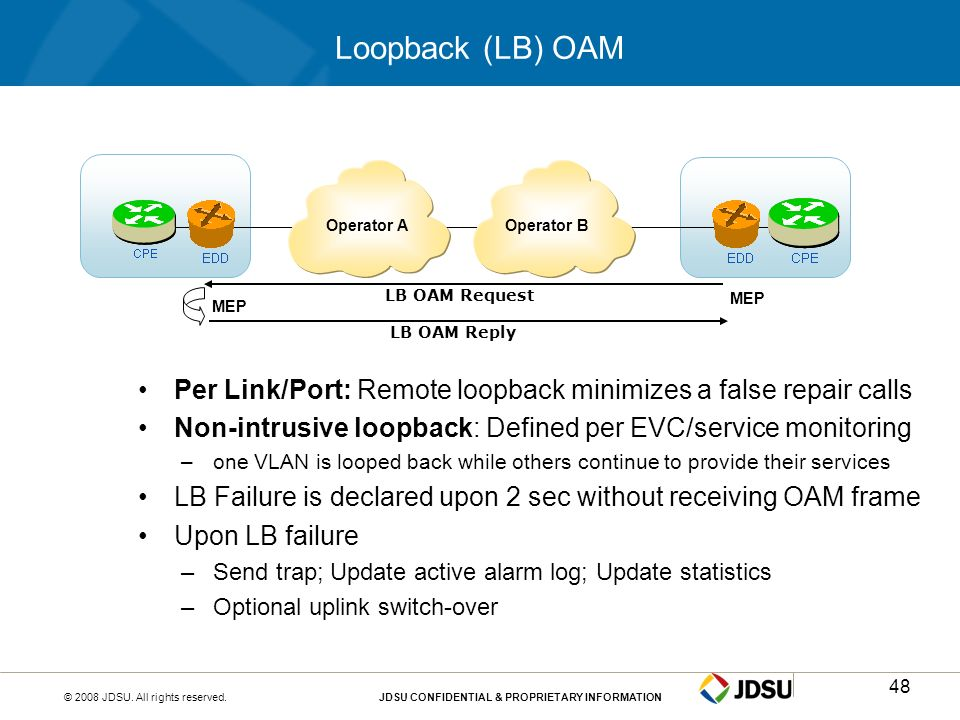 © 2008 JDSU. All rights reserved.JDSU CONFIDENTIAL & PROPRIETARY INFORMATION48 Loopback (LB) OAM Per Link/Port: Remote loopback minimizes a false repa