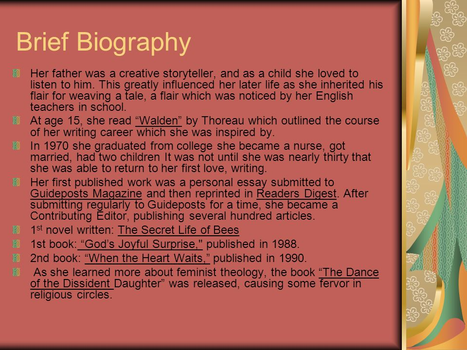 Brief Biography Her father was a creative storyteller, and as a child she loved to listen to him. This greatly influenced her later life as she inheri