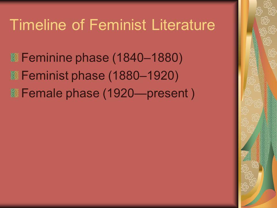 Timeline of Feminist Literature Feminine phase (1840–1880) Feminist phase (1880–1920) Female phase (1920present )