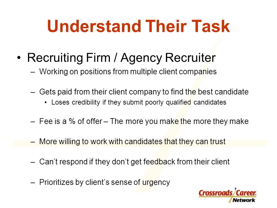 Understand Their Task Recruiting Firm / Agency Recruiter –Working on positions from multiple client companies –Gets paid from their client company to find the best candidate Loses credibility if they submit poorly qualified candidates –Fee is a % of offer – The more you make the more they make –More willing to work with candidates that they can trust –Cant respond if they dont get feedback from their client –Prioritizes by clients sense of urgency