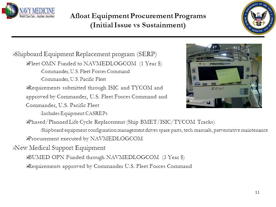 11 Afloat Equipment Procurement Programs (Initial Issue vs Sustainment) Shipboard Equipment Replacement program (SERP) Fleet OMN Funded to NAVMEDLOGCO