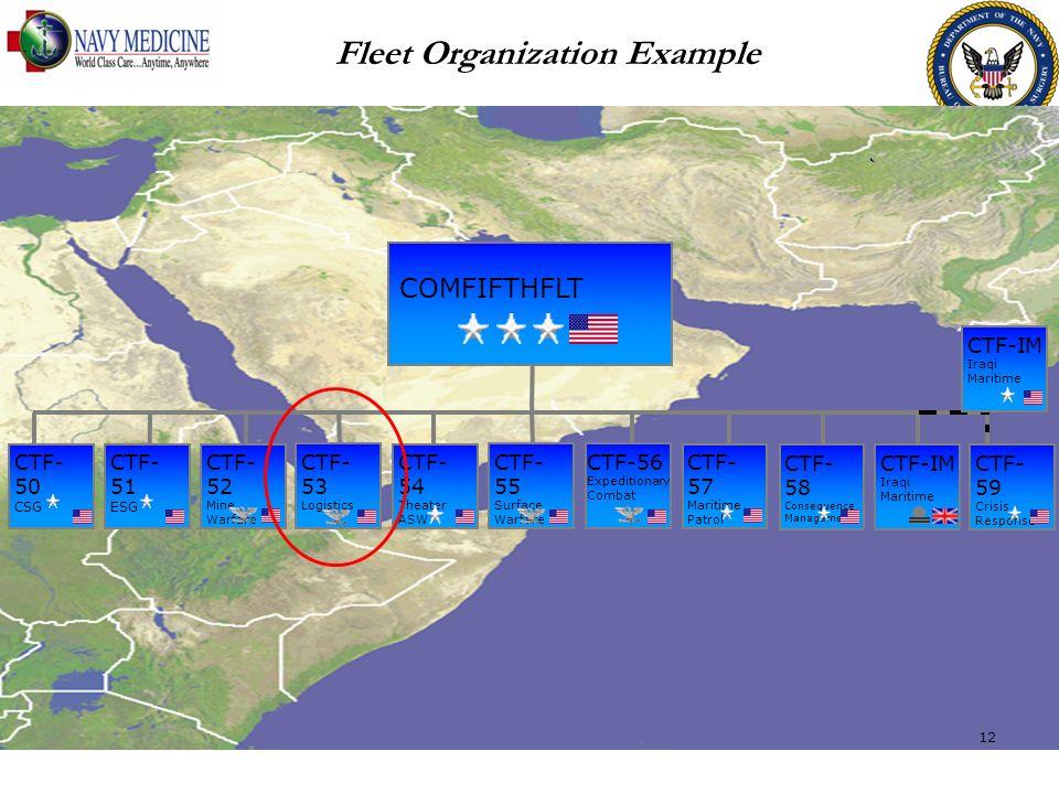 COMFIFTHFLT CTF- 51 ESG CTF- 54 Theater ASW CTF- 53 Logistics CTF-56 Expeditionary Combat CTF- 57 Maritime Patrol CTF- 58 Consequence Management CTF-