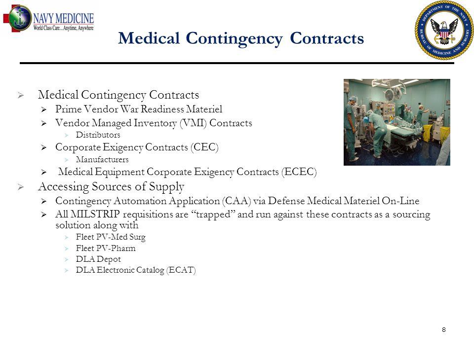 Medical Contingency Contracts Prime Vendor War Readiness Materiel Vendor Managed Inventory (VMI) Contracts Distributors Corporate Exigency Contracts (