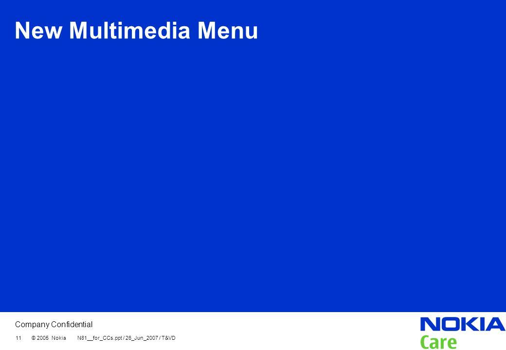 Company Confidential 11 © 2005 Nokia N81__for_CCs.ppt / 26_Jun_2007 / T&VD New Multimedia Menu