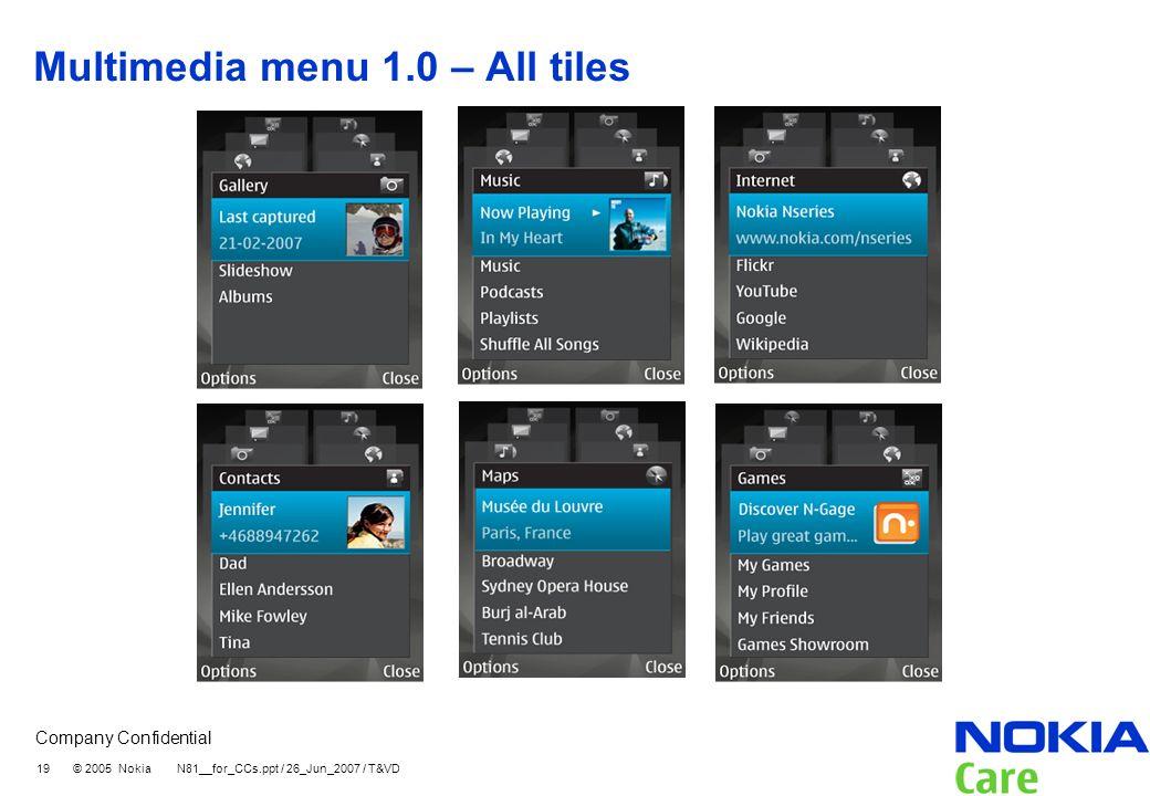 Company Confidential 19 © 2005 Nokia N81__for_CCs.ppt / 26_Jun_2007 / T&VD Multimedia menu 1.0 – All tiles
