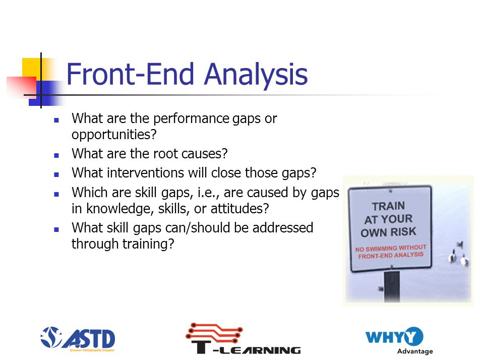 Front-End Analysis What are the performance gaps or opportunities.
