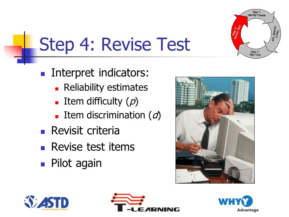 Step 4: Revise Test Interpret indicators: Reliability estimates Item difficulty (p) Item discrimination (d) Revisit criteria Revise test items Pilot again
