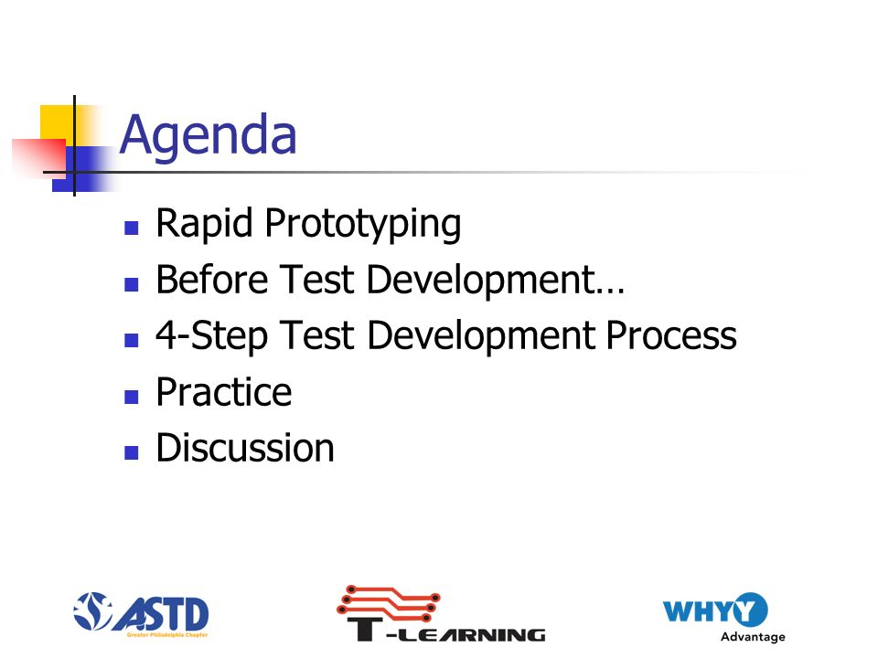 Agenda Rapid Prototyping Before Test Development… 4-Step Test Development Process Practice Discussion