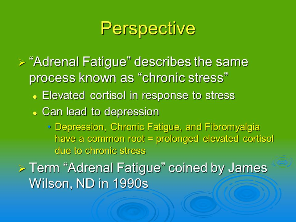 Perspective Adrenal Fatigue describes the same process known as chronic stress Adrenal Fatigue describes the same process known as chronic stress Elev