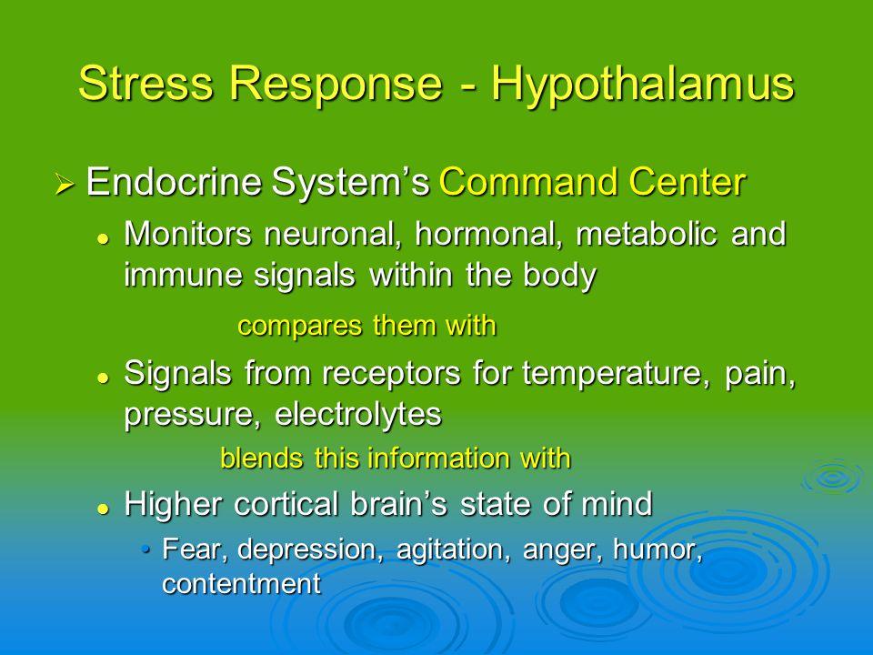 Stress Response - Hypothalamus Endocrine Systems Command Center Endocrine Systems Command Center Monitors neuronal, hormonal, metabolic and immune sig