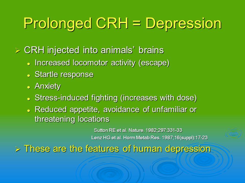 Prolonged CRH = Depression CRH injected into animals brains CRH injected into animals brains Increased locomotor activity (escape) Increased locomotor
