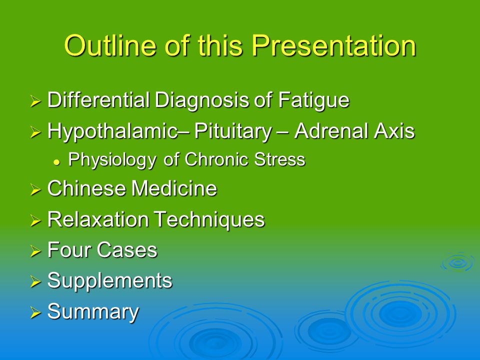 Depression, anxiety, anemia, thyroid disorder, insomnia, infection, sleep apnea, alcohol overuse, mitochondrial dysfunction, heart failure, menopause, pregnancy, domestic or workplace abuse, celiac, irritable bowel syndrome, inflammatory bowel disease, medications, autoimmune disease, hypogonadism, B12 deficiency, malnutrition, electrolyte abnormality Depression, anxiety, anemia, thyroid disorder, insomnia, infection, sleep apnea, alcohol overuse, mitochondrial dysfunction, heart failure, menopause, pregnancy, domestic or workplace abuse, celiac, irritable bowel syndrome, inflammatory bowel disease, medications, autoimmune disease, hypogonadism, B12 deficiency, malnutrition, electrolyte abnormality Fatigue Differential Diagnosis