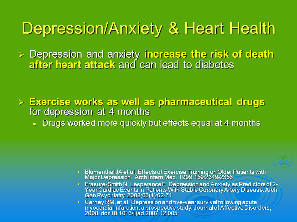 Depression/Anxiety & Heart Health Depression and anxiety increase the risk of death after heart attack and can lead to diabetes Depression and anxiety