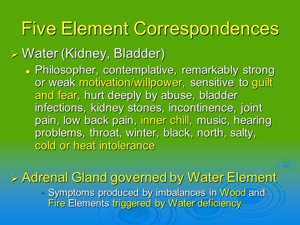 Five Element Correspondences Water (Kidney, Bladder) Water (Kidney, Bladder) Philosopher, contemplative, remarkably strong or weak motivation/willpowe