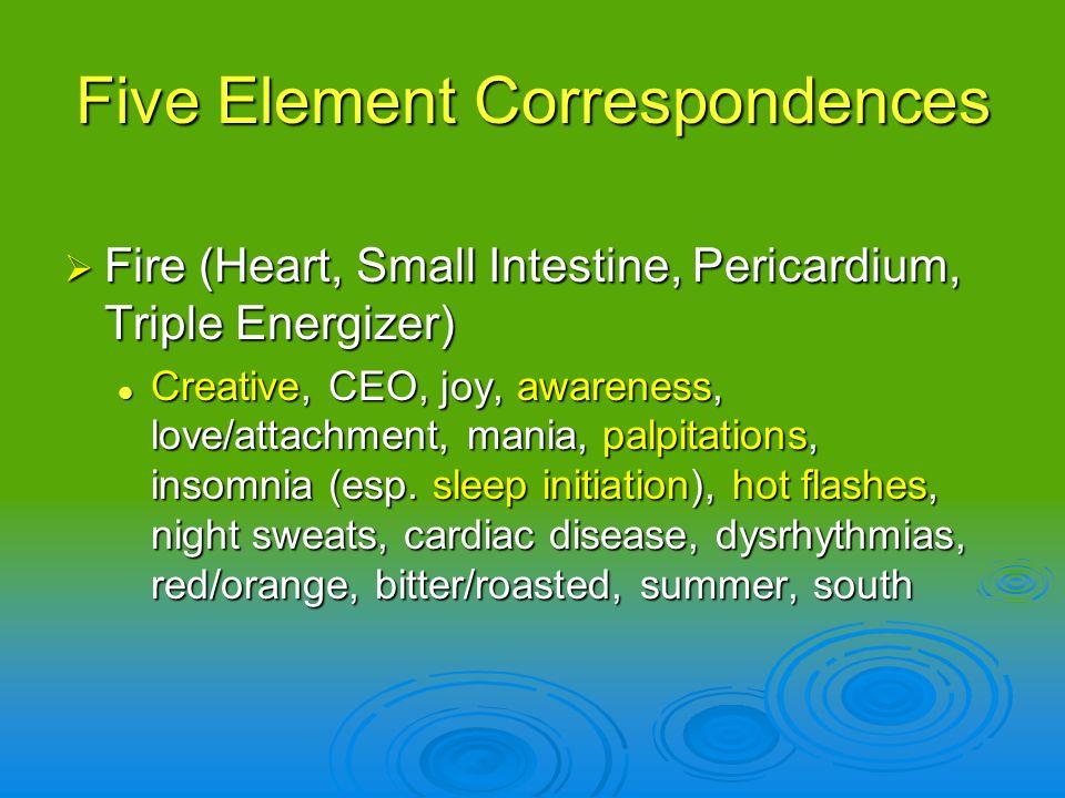 Fire (Heart, Small Intestine, Pericardium, Triple Energizer) Fire (Heart, Small Intestine, Pericardium, Triple Energizer) Creative, CEO, joy, awarenes