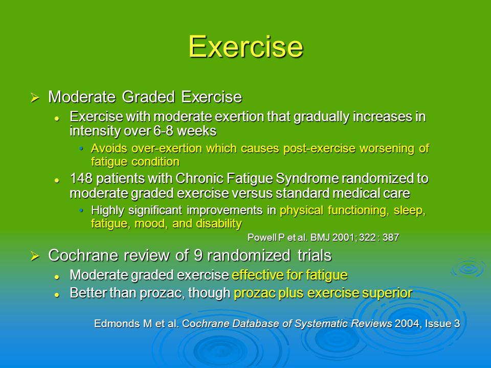 Exercise Moderate Graded Exercise Moderate Graded Exercise Exercise with moderate exertion that gradually increases in intensity over 6-8 weeks Exerci