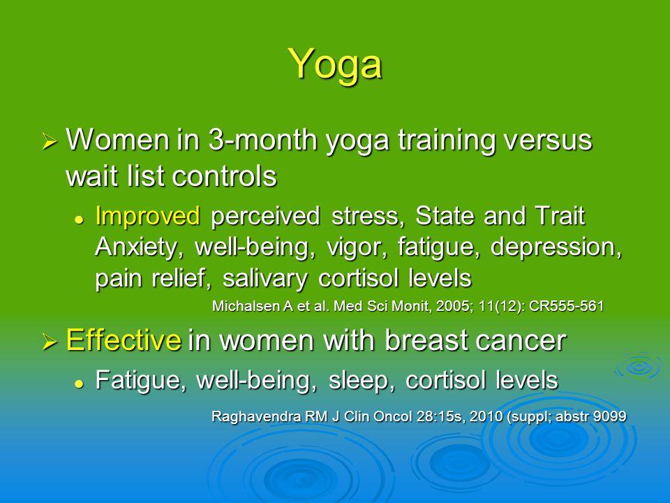 Yoga Women in 3-month yoga training versus wait list controls Women in 3-month yoga training versus wait list controls Improved perceived stress, Stat