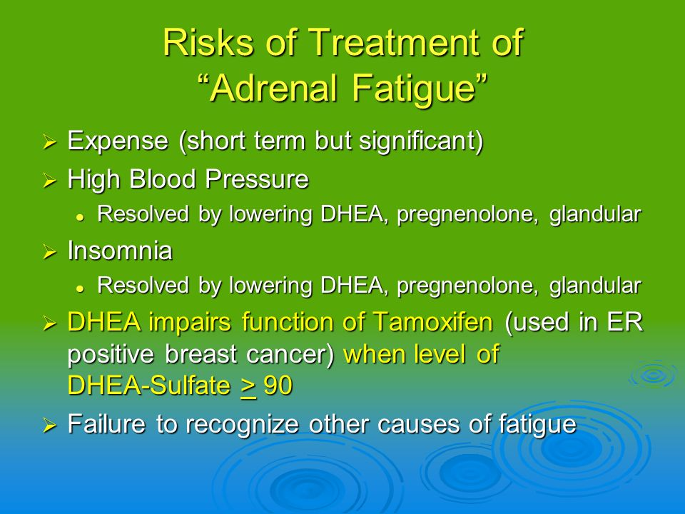 Risks of Treatment of Adrenal Fatigue Expense (short term but significant) Expense (short term but significant) High Blood Pressure High Blood Pressur