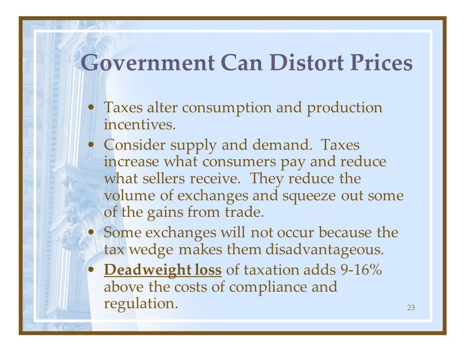 23 Government Can Distort Prices Taxes alter consumption and production incentives. Consider supply and demand. Taxes increase what consumers pay and
