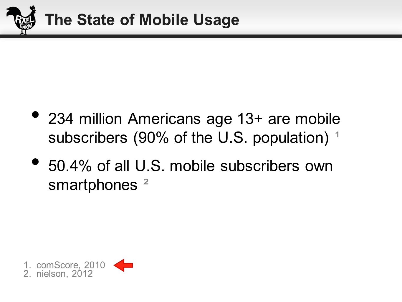 234 million Americans age 13+ are mobile subscribers (90% of the U.S. population) ¹ 50.4% of all U.S. mobile subscribers own smartphones ² 1. comScore