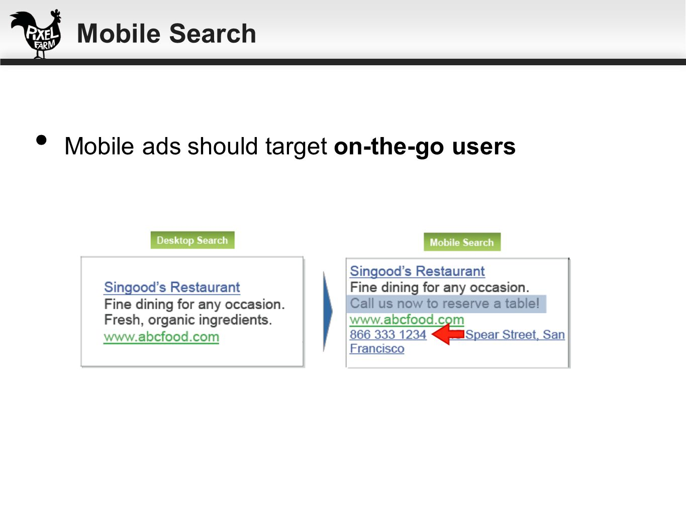 Mobile ads should target on-the-go users Mobile Search