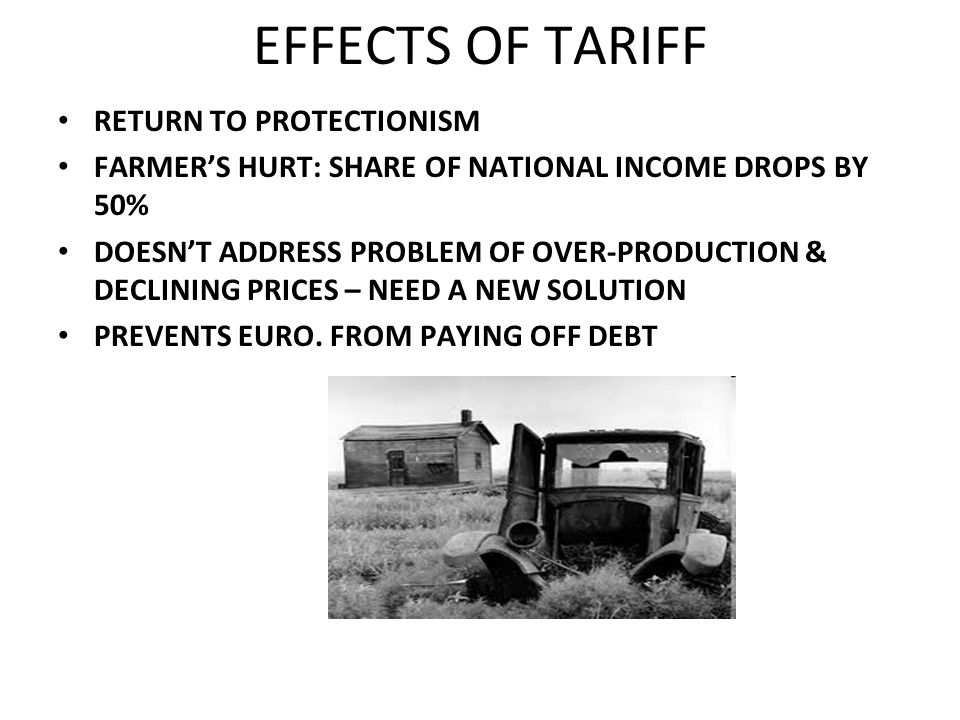 EFFECTS OF TARIFF RETURN TO PROTECTIONISM FARMERS HURT: SHARE OF NATIONAL INCOME DROPS BY 50% DOESNT ADDRESS PROBLEM OF OVER-PRODUCTION & DECLINING PR