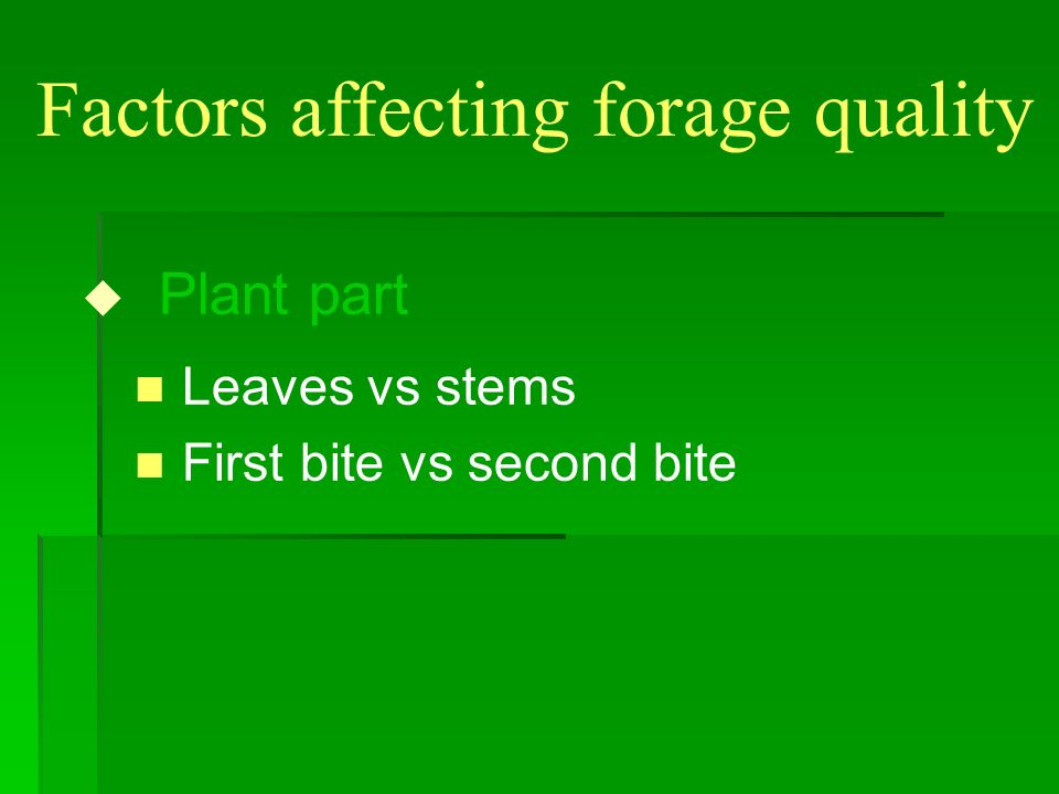 Factors affecting forage quality u Plant part n Leaves vs stems n First bite vs second bite