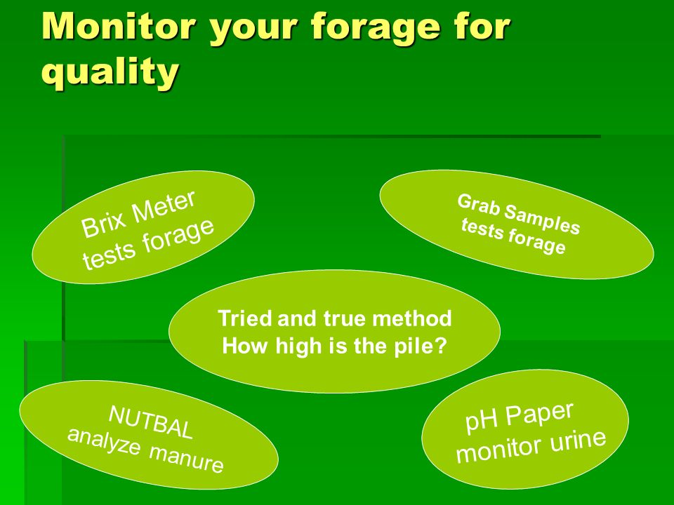 Monitor your forage for quality Brix Meter tests forage pH Paper monitor urine NUTBAL analyze manure Grab Samples tests forage Tried and true method How high is the pile?