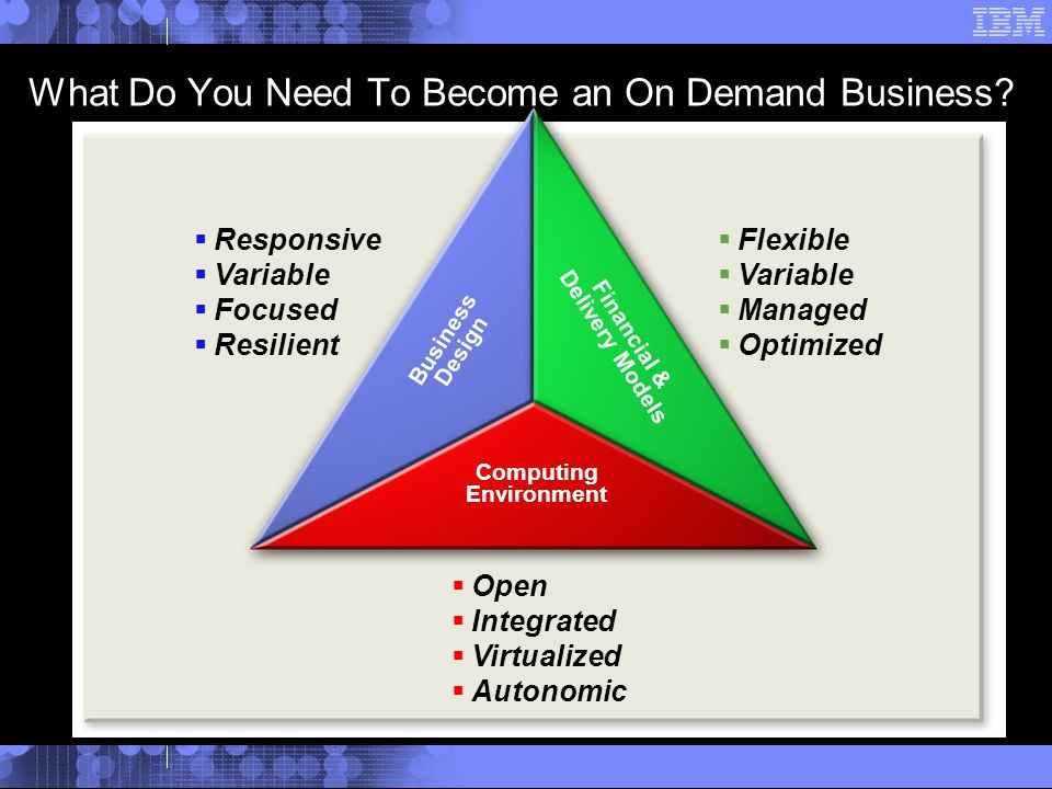 Responsive Variable Focused Resilient Open Integrated Virtualized Autonomic Flexible Variable Managed Optimized Computing Environment Business Design Financial & Delivery Models What Do You Need To Become an On Demand Business?