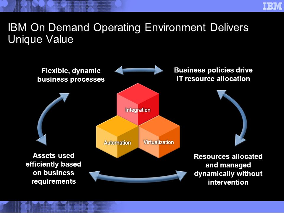IBM On Demand Operating Environment Delivers Unique Value Assets used efficiently based on business requirements Business policies drive IT resource allocation Flexible, dynamic business processes Resources allocated and managed dynamically without intervention
