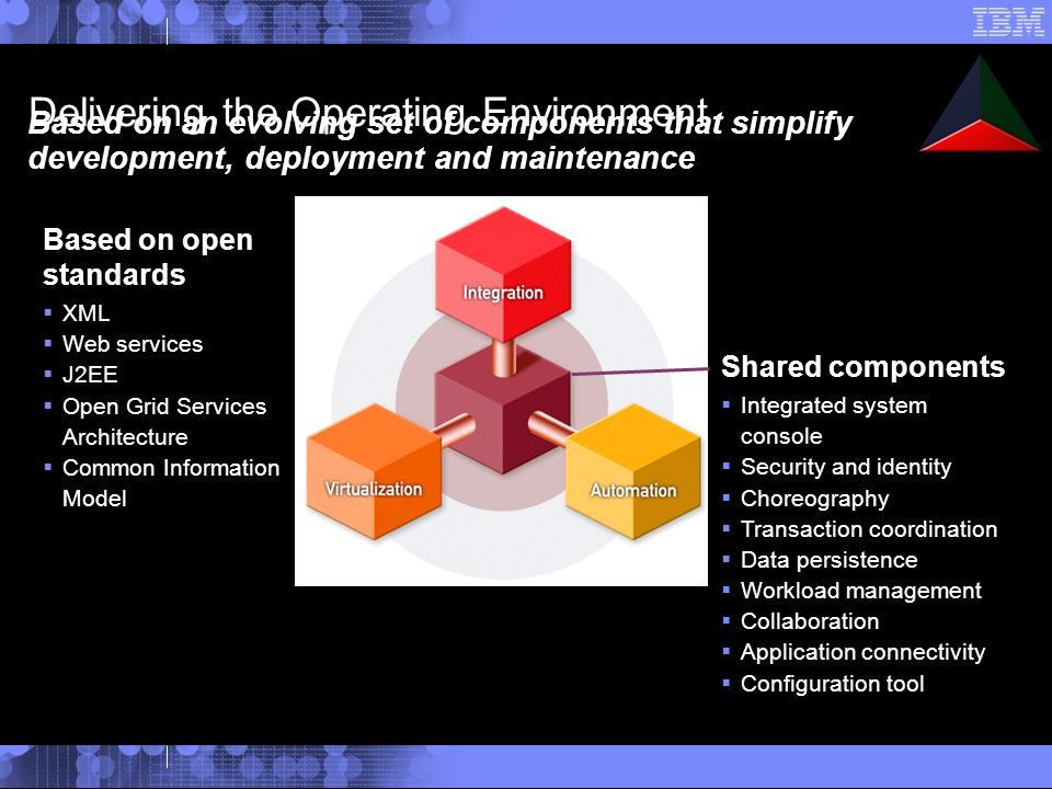 Delivering the Operating Environment Based on an evolving set of components that simplify development, deployment and maintenance Shared components Integrated system console Security and identity Choreography Transaction coordination Data persistence Workload management Collaboration Application connectivity Configuration tool Based on open standards XML Web services J2EE Open Grid Services Architecture Common Information Model