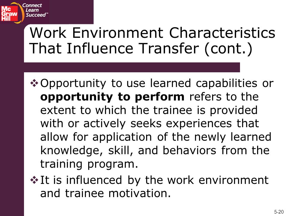 5-20 Work Environment Characteristics That Influence Transfer (cont.) Opportunity to use learned capabilities or opportunity to perform refers to the
