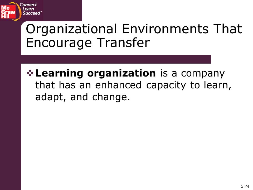 5-24 Organizational Environments That Encourage Transfer Learning organization is a company that has an enhanced capacity to learn, adapt, and change.