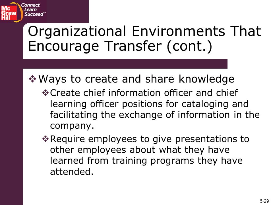 5-29 Organizational Environments That Encourage Transfer (cont.) Ways to create and share knowledge Create chief information officer and chief learnin