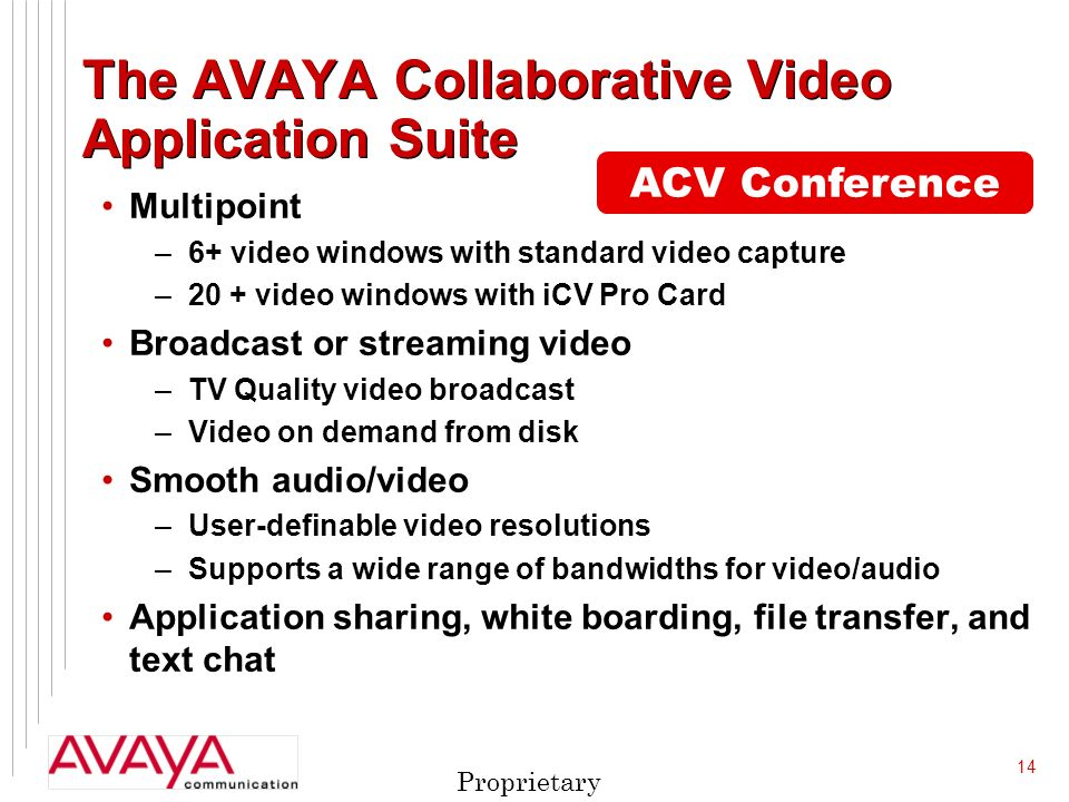 14 Proprietary The AVAYA Collaborative Video Application Suite Multipoint –6+ video windows with standard video capture –20 + video windows with iCV Pro Card Broadcast or streaming video –TV Quality video broadcast –Video on demand from disk Smooth audio/video –User-definable video resolutions –Supports a wide range of bandwidths for video/audio Application sharing, white boarding, file transfer, and text chat ACV Conference