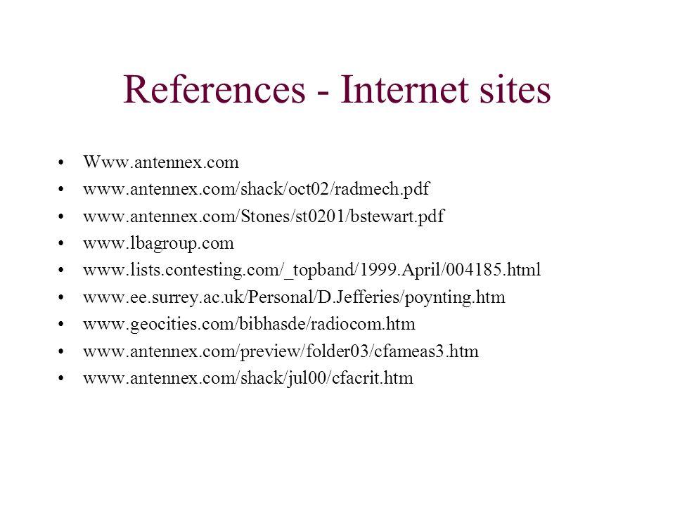 References - Internet sites Www.antennex.com www.antennex.com/shack/oct02/radmech.pdf www.antennex.com/Stones/st0201/bstewart.pdf www.lbagroup.com www