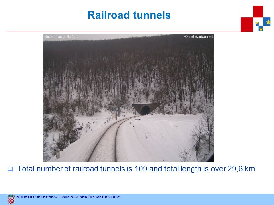 MINISTRY OF THE SEA, TRANSPORT AND INFRASTRUCTURE Railroad tunnels Total number of railroad tunnels is 109 and total length is over 29,6 km