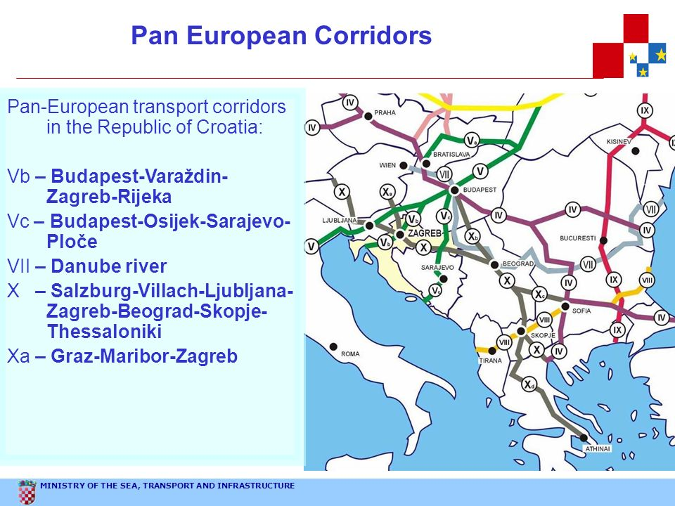 MINISTRY OF THE SEA, TRANSPORT AND INFRASTRUCTURE Pan European Corridors Pan-European transport corridors in the Republic of Croatia: Vb – Budapest-Va