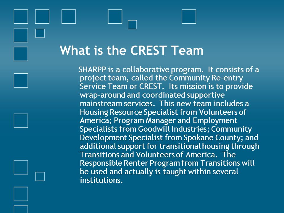 What is the CREST Team SHARPP is a collaborative program.